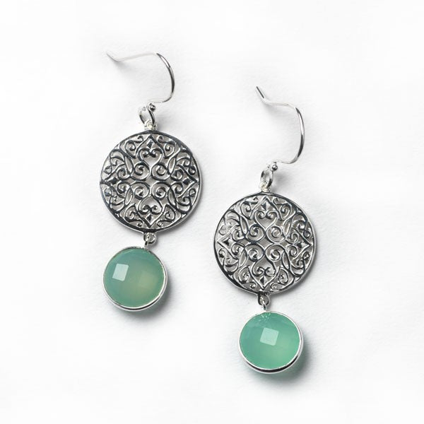 Sterling Silver & Chalcedony Earrings