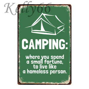 Funny Camping Metal Sign Wall Poster - Be More Wild