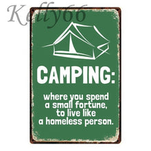 Load image into Gallery viewer, Funny Camping Metal Sign Wall Poster - Be More Wild