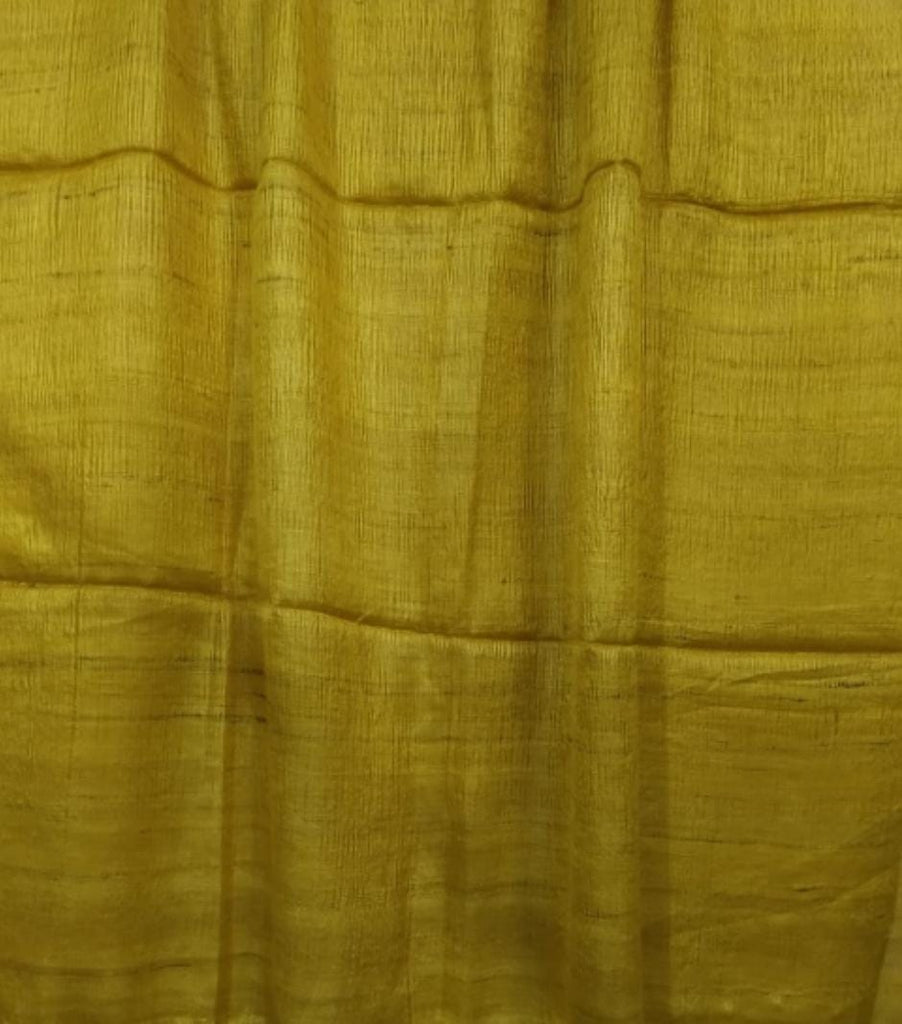 FM01_Silk ghicha fabric  Yellow Textured Fabric