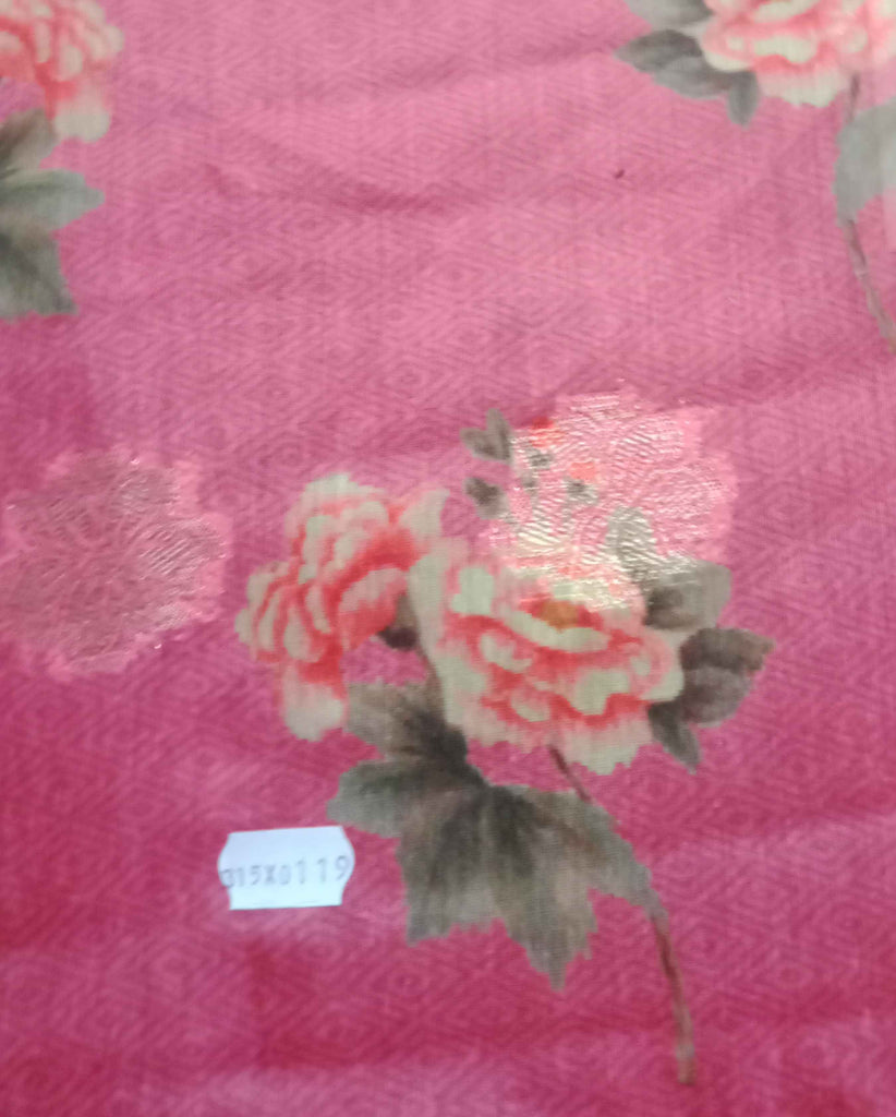 FM01_Cotton; silk Red Prints Fabric