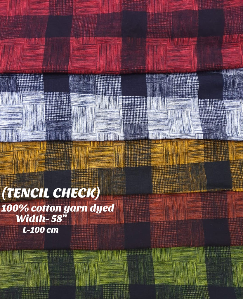 FM01_100% cotton ,rangeela patta,dolphin dobby , bugatti yarn dyed Checks Fabric
