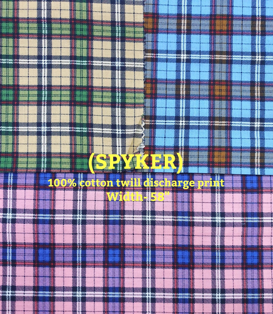 FM01_100% cotton ,rangeela patta,dolphin dobby , bugatti yarn dyed Blue Checks Fabric