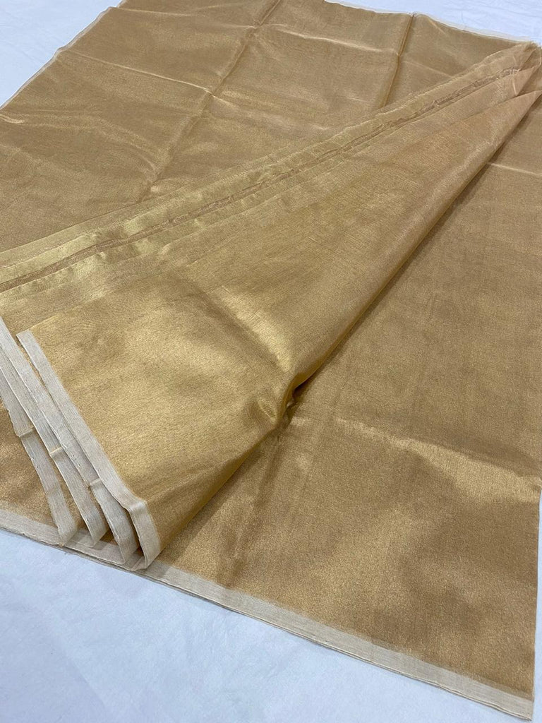 FM01_Chanderi cotton silk Orange Textured Fabric