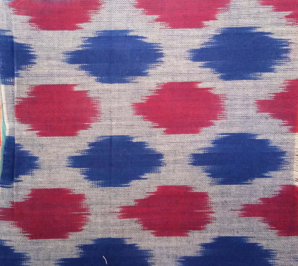 Grey base with dark blue and pink Ikat 100% Cotton Ikat Fabric