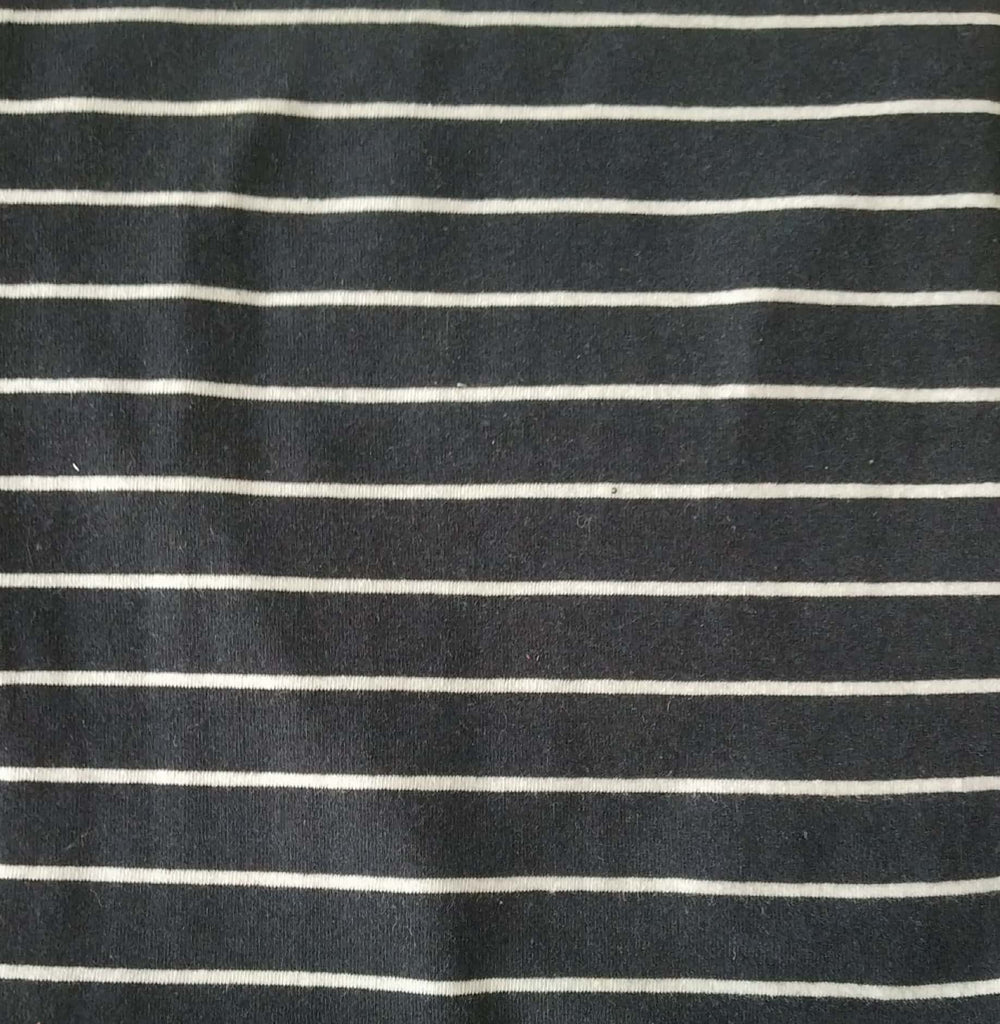 Dark Grey + White Stripes Cotton And Polyester Recycled Fabrics Fabric
