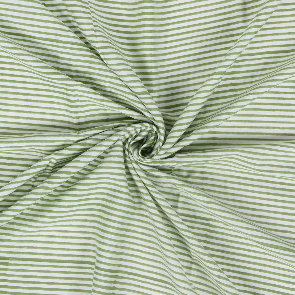 Green White Stripes Cotton Fabric