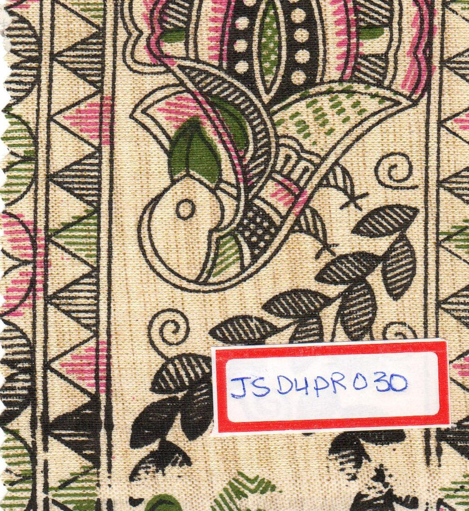 FM06_Jute and silk Orange Prints Fabric