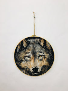Wolf Embroidery Hoop Wall Decor