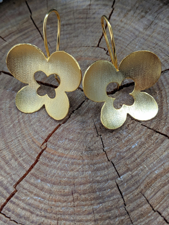 18K Gold Plated over Copper Cutout Butterfly Earrings