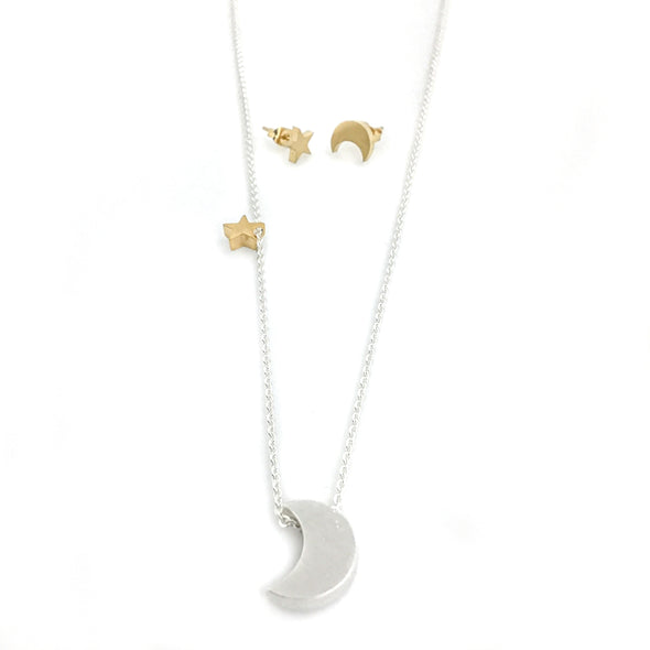 Moon & Star Necklace and Earring Set (Save 25%)