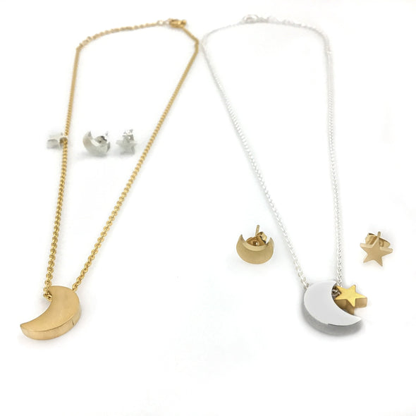 Moon and Star Necklace and Earrings Set