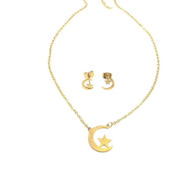 Star Resting on Moon Necklace and Earrings Set (25% off)