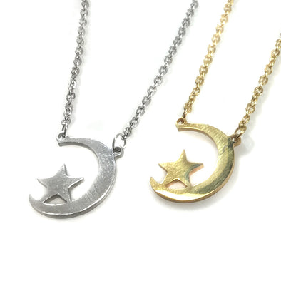 Star Resting on Moon Necklace (15% Off)