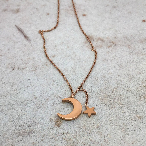 White Shell Moon & Star Necklace