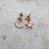 Chic Vibe White Moon and Star Earrings