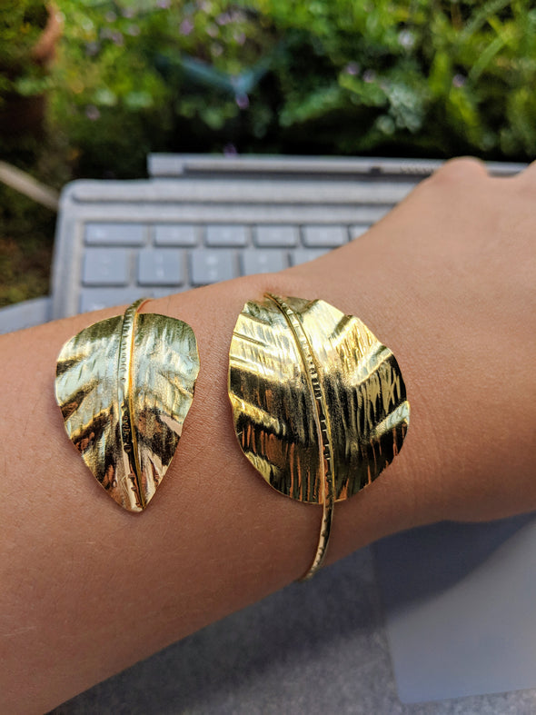 18K Gold over Copper Double Leaf Bracelet