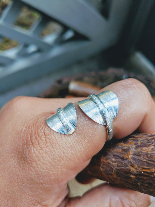 Silver over Copper Double Leaf Ring