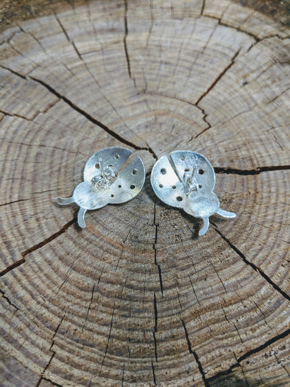 Silver over Copper Ladybug Earrings