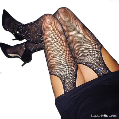 Glitter Fishnet Stockings - Stockings - Autumn Collection 2019 Free Shipping Luxeladyshop Luxury New - Luxe Lady Shop - Shoes Store