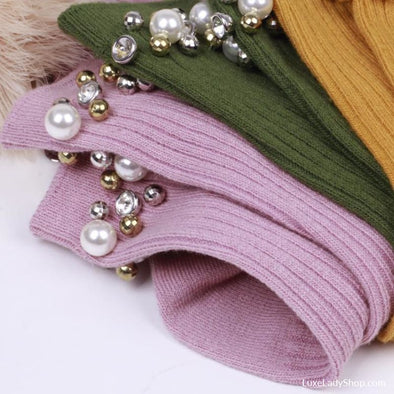 Handmade Rhinestone Pearls Cotton Socks Women - Socks - Autumn Collection 2019 Free Shipping Luxeladyshop Luxury New - Luxe Lady Shop -