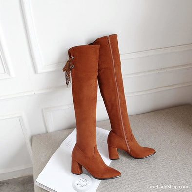 Jemma - Boots - Free Shipping Heel Boots Knee Boots Luxury New - Luxe Lady Shop - Shoes Store