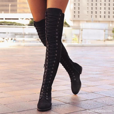 Sofia - Boots - Flat Boots Free Shipping Knee Boots Luxury New - Luxe Lady Shop - Shoes Store