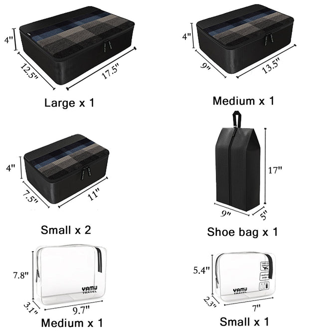 YAMIU Packing Cubes 7-Pcs Travel Organizer Accessories with Shoe Bag & 2 Toiletry Bags(Black)