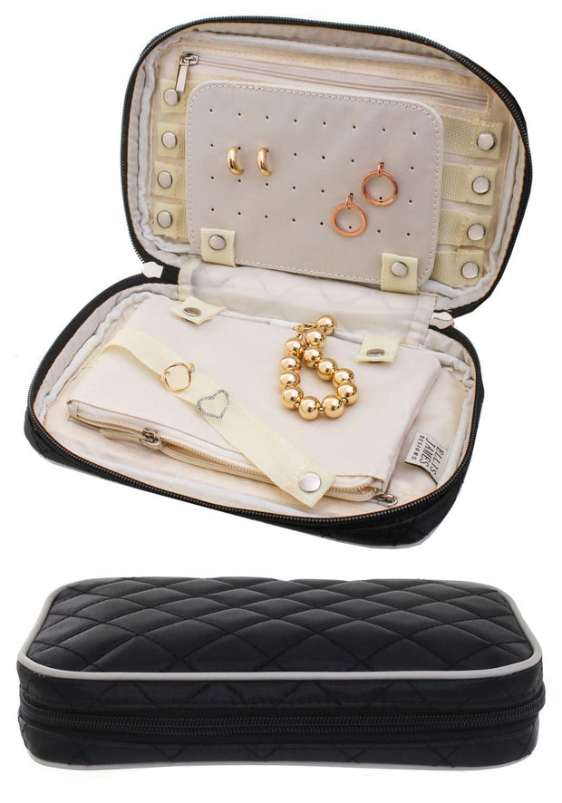 Ellis James Designs Travel Jewelry Organizer Elegant Travel jewelry case, Quilted Exterior, Padded for Protection - Keeps Your Earrings & Necklaces Organized and Secure, Jewelry Roll Travel Case Black