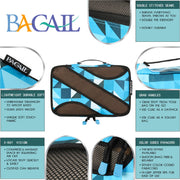 BAGAIL 4 Set Packing Cubes,Travel Luggage Packing Organizers with Laundry Bag Geomtry