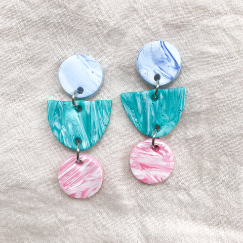Turquoise & Pink Marble Triple Drops