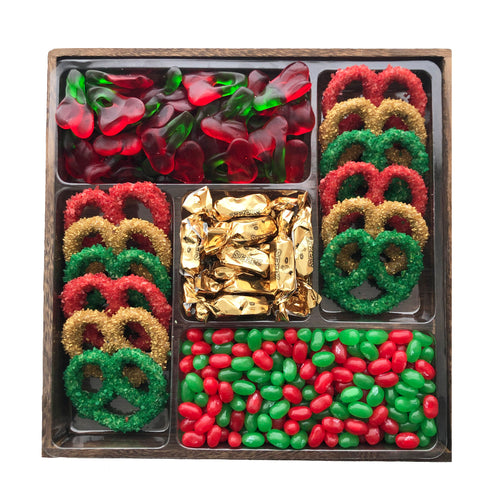5 Section Wooden Platter, Christmas Themed