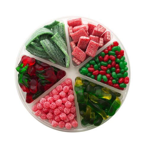 6 Section Candy Platter, Christmas Themed
