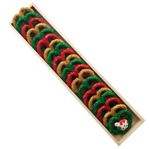 Long Wooden Pretzel Box, Christmas Themed