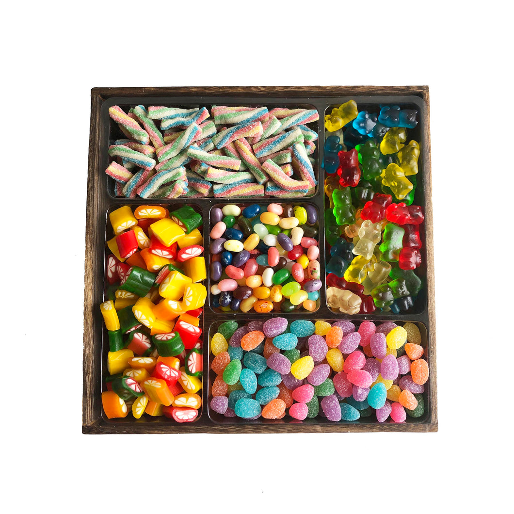 Medium 5 Section Wooden Tray, Candy Only