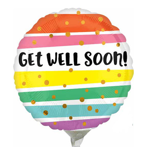 Get Well Soon Balloon, Stripes