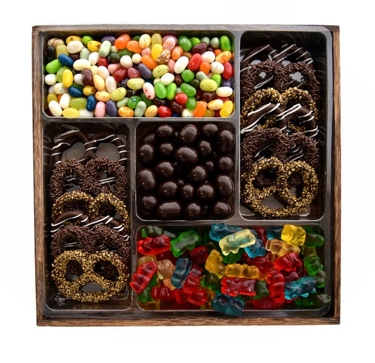Wooden 5 Section Platter: Pretzel, Chocolate and Candy