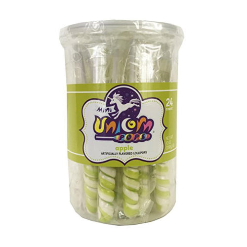 Green Unicorn Lollipops, 24 Count