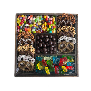 Medium 5 Section Wooden Tray, Candy, Pretzels and Chocolate