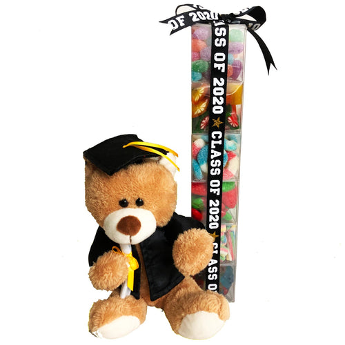 Tall Candy Stack with 2020 Ribbon and Teddy