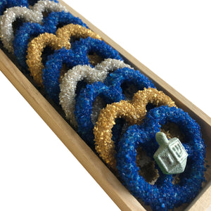 Chanuka Long Wooden Pretzel Tray