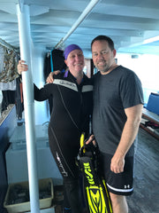 Wendy with her husband on the Naia in Fiji