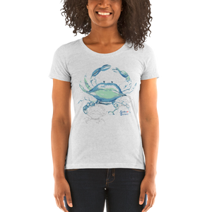 Woman Wearing Ladies Crab Shirt by Scuba Sisters