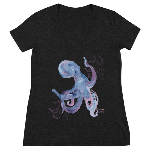 Shadow Octopus Tee - Fitted V Neck - Scuba Sisters Diving Apparel