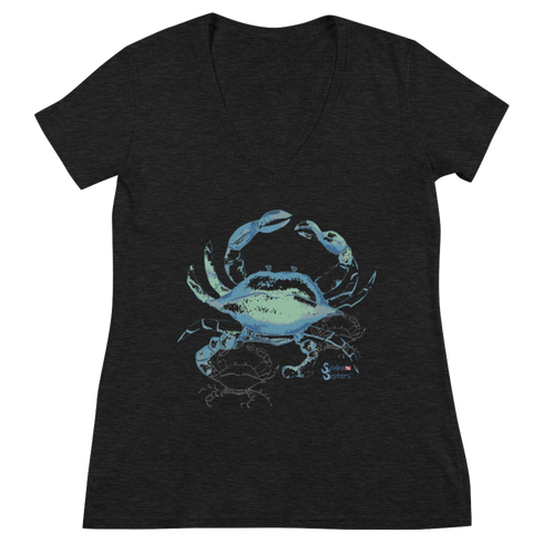 Ladies Crab V Neck Shirt by Scuba Sisters - Black