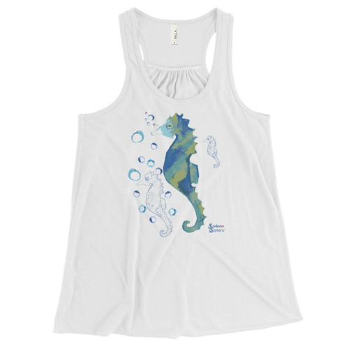 Bubbly Seahorse Tank - Flowy Racerback - Scuba Sisters Diving Apparel