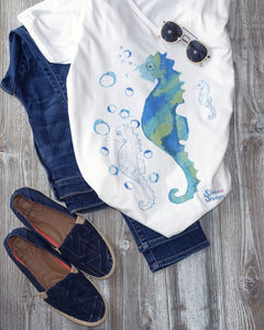 Bubbly Seahorse Tee and Jeans Outfit