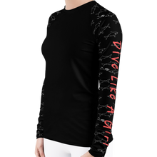 Load image into Gallery viewer, Dive Like A Girl Shark Rash Guard for Women by Scuba Sisters