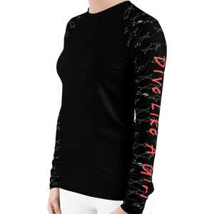 Dive Like A Girl Shark Rash Guard for Women by Scuba Sisters