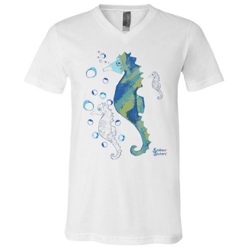 Unisex Seahorse V Neck T-Shirt by Scuba Sisters - White